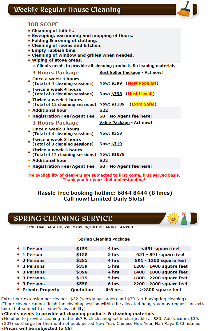 Part Time Maid & Spring Cleaning Rates Singapore
